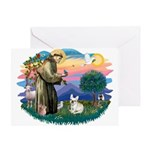 St Francis #2/ Fr Bulldog (f) Greeting Card