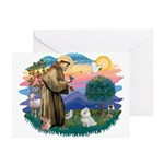 St Francis #2 / Maltese (#7) Greeting Cards (Pk of