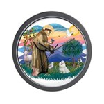 St Francis #2 / Maltese (#7) Wall Clock
