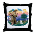 St Francis #2 / Maltese (#7) Throw Pillow