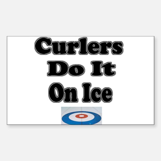 Curlers Do It On Ice Rectangle Decal