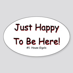 Just Happy Oval Sticker