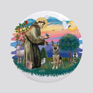 St. Fran #2/ German Shepherd (P) Ornament (Round)