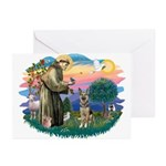 St. Fran #2/ German Shepherd (P) Greeting Cards (P