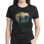 St. Fran #2/ German Shepherd (P) Women's Dark T-Sh