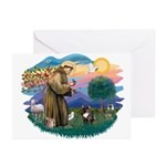 St Francis #2/ Fr Bulldog (brin) Greeting Cards (P