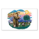 St Francis #2/ Fr Bulldog (brin) Sticker (Rectangl