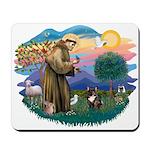 St Francis #2/ Fr Bulldog (brin) Mousepad