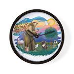 St Francis #2/ Fr Bulldog (brin) Wall Clock
