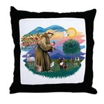 St Francis #2/ Fr Bulldog (brin) Throw Pillow