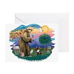 St Francis #2/ Fr Bulldog (brin) Greeting Card