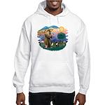 St Francis #2/ Fr Bulldog (brin) Hooded Sweatshirt