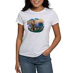 St Francis #2/ Fr Bulldog (brin) Women's T-Shirt