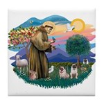 St. Fran #2/ Two Pugs (fawn) Tile Coaster