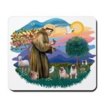 St. Fran #2/ Two Pugs (fawn) Mousepad