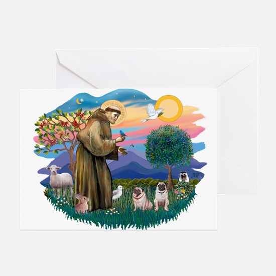 St. Fran #2/ Two Pugs (fawn) Greeting Card