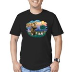 St. Fran #2/ Two Pugs (fawn) Men's Fitted T-Shirt