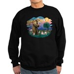 St. Fran #2/ Two Pugs (fawn) Sweatshirt (dark)