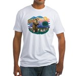 St. Fran #2/ Two Pugs (fawn) Fitted T-Shirt