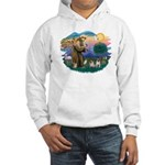 St. Fran #2/ Two Pugs (fawn) Hooded Sweatshirt