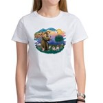 St. Fran #2/ Two Pugs (fawn) Women's T-Shirt