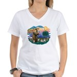 St. Fran #2/ Two Pugs (fawn) Women's V-Neck T-Shir