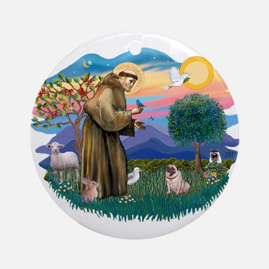 St Francis #2/ Pug (fawn) Ornament (Round)