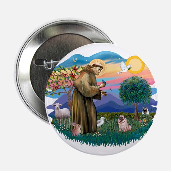 "St Francis #2/ Pug (fawn) 2.25"" Button"