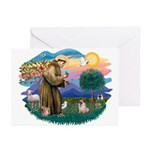 St Francis #2/ Pug (fawn) Greeting Cards (Pk of 10