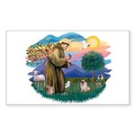 St Francis #2/ Pug (fawn) Sticker (Rectangle)