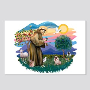 St Francis #2/ Pug (fawn) Postcards (Package of 8)