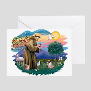 St Francis #2/ Pug (fawn) Greeting Card