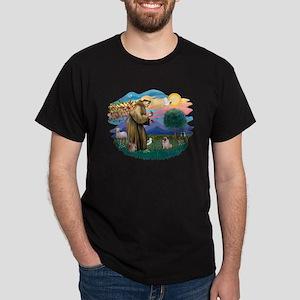 St Francis #2/ Pug (fawn) Dark T-Shirt