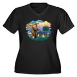 St Francis #2/ Pug (fawn) Women's Plus Size V-Neck