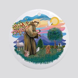 St. Fran #2/ Apricot Poodle (min) Ornament (Round)