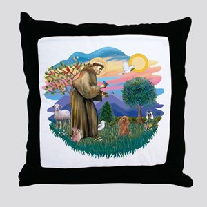 St. Fran #2/ Apricot Poodle (min) Throw Pillow