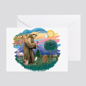 St. Fran #2/ Apricot Poodle (min) Greeting Card