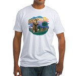 St. Fran #2/ Apricot Poodle (min) Fitted T-Shirt