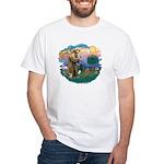 St. Fran #2/ Apricot Poodle (min) White T-Shirt
