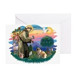 St Francis #2/ E Bulldog #3 Greeting Cards (Pk of