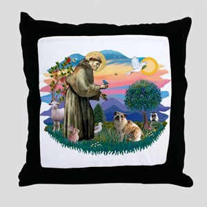 St Francis #2/ E Bulldog #3 Throw Pillow