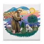 St. Fran #2/ English Bulldog (W) Tile Coaster