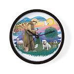 St. Fran #2/ English Bulldog (W) Wall Clock