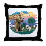 St. Fran #2/ English Bulldog (W) Throw Pillow
