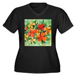 Tropical Flowers Women's Plus Size V-Neck Dark T-S