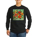 Tropical Flowers Long Sleeve Dark T-Shirt