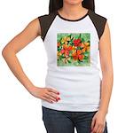 Tropical Flowers Women's Cap Sleeve T-Shirt