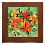 Tropical Flowers Framed Tile