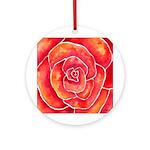 Red-Orange Rose Ornament (Round)
