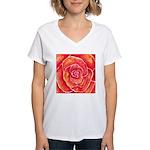 Red-Orange Rose Women's V-Neck T-Shirt